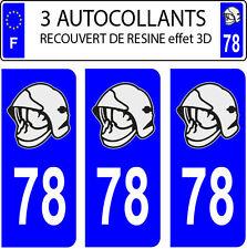 3 sticker plaque immatriculation auto DOMING 3D RESINE CASQUE POMPIER DEPARTE 78