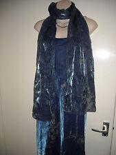 Ladies,size 12.Debut,shiney blue & grey maxi evening dress,with wrap/scarf/shawl