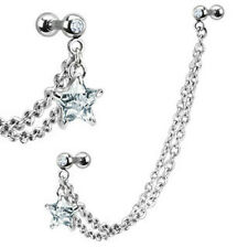 One Double Chain Linked Dangle CZ Star Gemmed Double CartilageT ragus Barbell