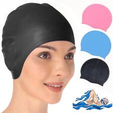 Adult Women Waterproof Swim Cap Silicone Swimming Hat Durable For Short Hair US