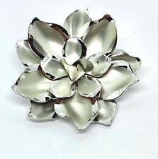 Vintage Silver Tone Enamel Flower Brooch Pin Jewelry