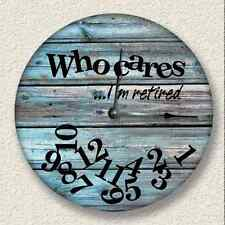 """10.5"""" WHO CARES I'm Retired Wall Clock Distressed Teal Rustic Decor 7008_FT"""