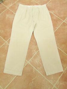 Gap - Mens Light Cream Khaki Cotton Pleat Front Classic Trousers - size 36W 30L
