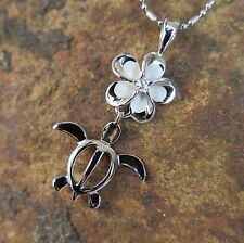 PLUMERIA + HONU TURTLE Rhodium 925 Sterling Silver Pendant with Necklace SP88138