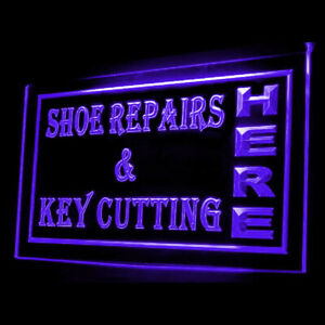190013 OPEN Shoes Repairs Key Cutting Display LED Light Neon Signs