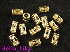 80Pcs Antiqued gold plt hollow barrel spacer beads A228