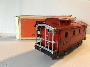 1927 LIONEL PREWAR TRAINS- 517 RED CABOOSE ORIGINAL BOX & LIGHT- STANDARD GAUGE