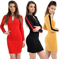 Womens Ladies Long Sleeve Contrast Striped Zip Up Short Mini Party Bodycon Dress