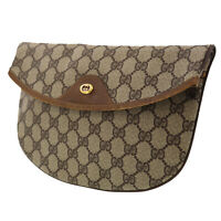 GUCCI GG Plus Clutch Pouch Brown PVC Leather Italy Vintage Authentic #AC27 O
