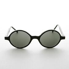 Mod Vintage Sunglasses Round Black Frame and Green Lens- Ashton
