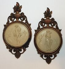 Vtg Pr COPPERCRAFT GUILD Ladies Wall Plaques Nude Cameo Style 4056A & B Dart Inc