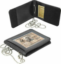 "Black Leather BIFOLD Law Enforcement ID Holder With 33"" Neck Chain ROTHCO1138"