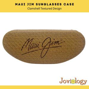 Maui Jim Eyeglass Sunglass Hard Case Glasses Bamboo Texture Tan Felt Lined Clam