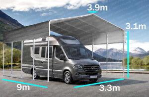 STEEL Carport 3.3x9M Shed Portable Shelter Kit Motorhome Caravan Cover Campervan
