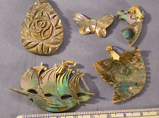 HA - 9.3-Abalone pendents Tear Drop, Tooth, Ship, Horse Head & Butterfly