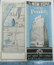 1930s? Hotel Piccadilly W45th St New York City NYC Brochure Map Times Square