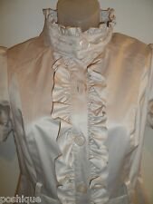 bebe S Trench Coat Jacket Dress Beige Long Collared Button Down Ruffle Spring