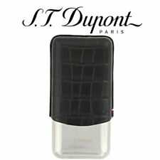 ST DUPONT CROCO DANDY LEATHER & METAL TRIPLE CIGAR CASE HOLDER 183017 NEW IN BOX