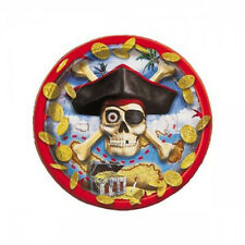 PIRATE BOUNTY SMALL PAPER PLATES (8) ~ Birthday Party Supplies Cake Dessert Red