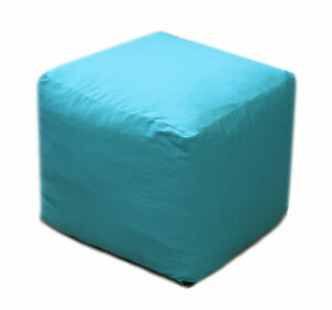 "18"" Square Footstool Cover Turquoise Pouf Ottoman Covers Seating Ottoman Covers"