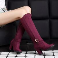 Ladies Faux Suede Knee High Knight Boots Block Heels Womens Side Zip Shoes Size