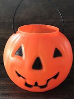"Vintage Halloween Pumpkin Jack-o-Lantern Blow Mold Candy Pail 6"" JOL 🎃🎃🎃"