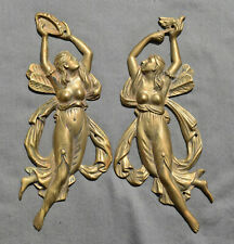 19th C French Neoclassic Cast Bronze Female Ormolu Furniture Mount /2