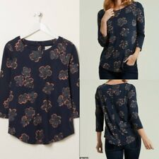 NEW RRP £25 Ex  Fat Face Button Back Graphic Bloom Top in Navy