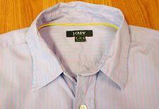 J.CREW Mens 100% COTTON POINT COLLAR CASUAL SHIRT LIGHT BLUE & PINK EC Sz MEDIUM
