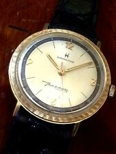 Hamilton Thin O Matic Solid Gold Fancy Case 2 Tone Dial Alligator Band Serviced