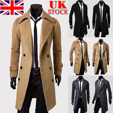 Men Double Breasted Trench Coat Winter Warm Long Jacket Solid Overcoat Outwear