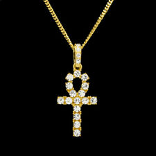Unisex Men Stainless Steel Crystal Cross Pendant Chain Necklace Jewelry Hip Hop