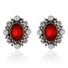 Gorgeous Red White Crystal Pearl Clip-On  Clip On Statement Earrings