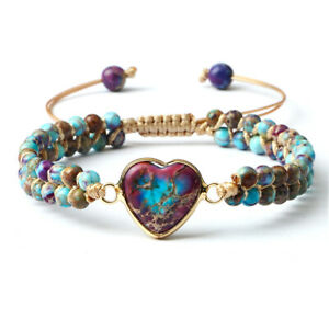 Armband Jaspis Edelstein Naturstein Herz Boho Yoga Perlen Damen Handgefertigt