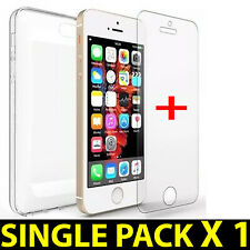 FOR iPHONE 4G,5C,5S,8,8+, NEW FLEXIBLE CLEAR SILICONE GEL CASE + TEMPERED GLASS