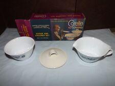 Vintage Corning Ware Old Town Blue Sugar & Creamer Set in Original Box
