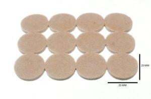Strip Of 12 Round Felt Pads Self Adhesive 25mm Dia. 4mm Thick 1 Strip