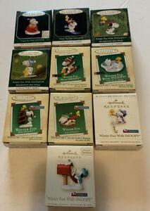 Hallmark Miniature Ornaments Winter Fun With Snoopy Series 1998 - 2007 Lot 10