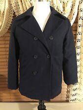 Women's WOOLRICH Sz 14-16 Navy Blue Heavy Coat Flannel Lined EUC