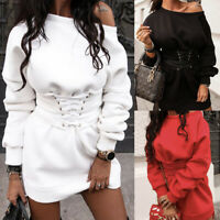 ❤️Womens Off Shoulder Sweatshirt Ladies Casual Long Sleeve Jumper Top Mini Dress