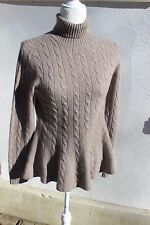 EVELYN 100% Cashmere S Sweater Fit Flare Skating Peplum WHEAT TAUPE NWOT Sz M