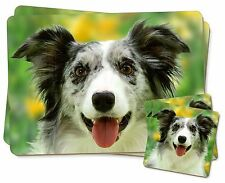 Blue Merle Border Collie Twin 2x Placemats+2x Coasters Set in Gift Bo, AD-BC10PC