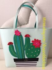Kate Spade Cactus Little Len New Horizons Island Waters Leather Tote Purse