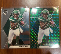 2-2020 Mosaic Denzel Mims Rookie Green Prizm Refractor/ Base Rookie  NY JETS Lot