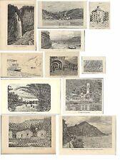 Stampe antiche SERIE 11 VEDUTE LAGO DI COMO da Q. Michetti 1880-90 Antique print