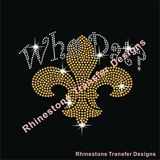 "Rhinestone Transfer ""New Orleans Saints Who Dat"" New Hotfix , Iron On, Bling"