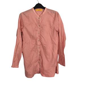 Beechtree Women's Size XS Salmon Pink Button Down Collarless Long Sleeve Shirt