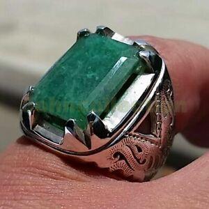 Emerald Corundum Gemstone Solid 925 Sterling Silver Wedding Mens Ring Jewelry