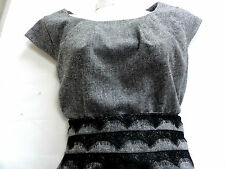M&S  NEW 16 TWEED AND LACE DRESS - OFFICE WORK ? GREY