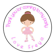 Cute Pink Ballerina Personalised Thank You Sticker Party Sweet Cone Birthday